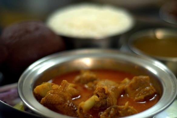 Nati Chicken Curry with Ragi Mudde